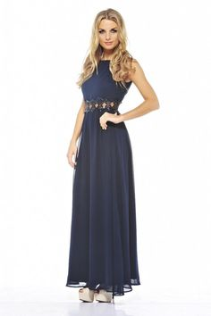 AX Paris Womens Navy Embellished Waist Chiffon Maxi Dress Stylish Fashion
