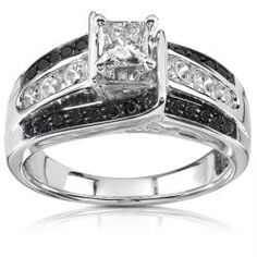 @Overstock - Princess-cut black and white diamond engagement ring14-karat white gold jewelry Click here for ring sizing guidehttp://www.overstock.com/Jewelry-Watches/14k-White-Gold-1ct-TDW-Black-and-White-Diamond-Ring-H-I-I1-I2/6963162/product.html?CID=214117 $1,429.99