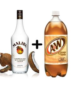 Malibu Rum and Cream Soda Here Are 15 Unexpected Boozy Combos You Might Actually Love Bring on the whiskey ice cream floats. Liquor Drinks, Cocktail Drinks, Bourbon Drinks, Drinks With Malibu Rum, Alcoholic Beverages, Alcoholic Drinks Using Sprite, Craft Cocktails, Malibu Rum Mixers, Good Bar Drinks