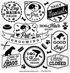 Pet Hair Salon and Store Badges and Labels in Vintage Style. Vector Design Elements by butterflycreative, via Shutterstock