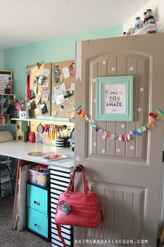 I love the painted door and the washi tape banner!