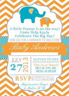 Boys Baby Shower Invitation Elephant Theme by SassyGraphicsDesigns www.infanteeniebeenie.com~  the only hat guaranteed to fit and stay snug to all newborns.  we have an elephant beenie~  a perfect shower gift!