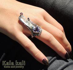 Faceted Amethyst and Natural Aquamarine Crystal and by KalaKali, €170.00
