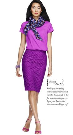 Perk up your spring style with vibrant pops of purple! Wear head-to-toe for maximum impact, or layer your look with a statement-making scarf