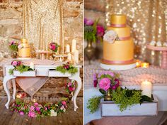 Green and Bloom styled gold and pink wedding inspiration as featured on Polka Dot Bride. Photography by Karen buckle photography, flowers, decor and styling by Green and Bloom, stationary by Little Peach Co, desserts and cake by Taart. Gold wedding inspiration, sparkle tablecloth, reception flowers, chevron napkin, table flowers.