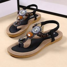 High-quality Bohemia Rome Style Beaded Jewelry Lady Soft Flat Clip Toe Sandals - NewChic