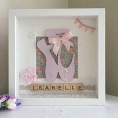 Wall Art Personalised Ballerina Picture Box Frame for girls Handmade Wedding, Handmade Shop, Handmade Art, Handmade Gifts, Handmade Items, Picture Boxes, Picture Frame, Ballerina Birthday, Ballerina Bedroom