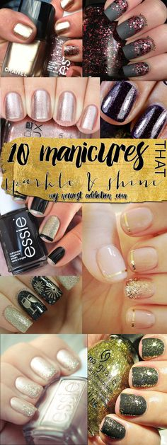 Beauty Tip on 10 Manicures That Sparkle & Shine by Laura Gallaway. Check out more Nails on Bellashoot. Fancy Nails, Love Nails, How To Do Nails, Pretty Nails, Nail Art Designs, Nail Polish Storage, Nail Art Diy, Art Nails, All Things Beauty