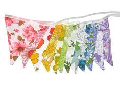 Vintage Retro Rainbow Bright Floral Flag Bunting. Multi-Colour . Home Decoration - by merry-go-round on madeit