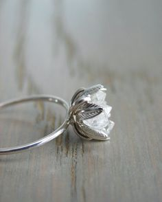 Raw Herkimer Diamond Ring Organic Natural Stone by Gemologies