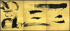 """Ryoji Koie (b.1938)? A six-fold paper screen painted in ink on a hakura (silk on gold) ground with the characters """"1, 2, 3"""" and abstract calligraphy; Dimensions: H. 68"""" x W. 150"""" (172.5cm x 381cm); Signed: Ryoji Koie; Seal: Ryoji Koie, Japan, 21st century Heisei 23 (2011). © TEFAF Maastricht, 2015"""