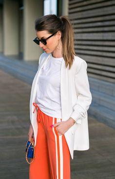 track pants stripes orange outfit white blazer heels fashion blog street style veja du