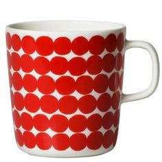 Marimekko's Oiva - Räsymatto mug, 4 dl, red-white