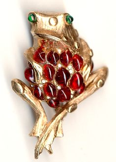 Hattie Carnegie Gold and Ruby Cabochon Bellied Frog Pin