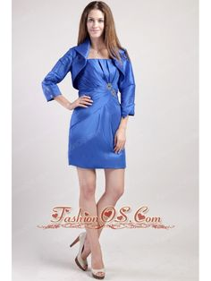 Blue Column / Sheath Straps Mini-length Taffeta Beading Mother of the Bride Dress- $108.42http://www.fashionos.com  http://www.facebook.com/quinceaneradress.fashionos.us  Fashionable mother of the bride dress. This dress features a strapless neckline on the unique designed ruched bodice. The ruching is gathered by a touch of clear beading at the waist.Taffeta mini-skirt make this dress shinning.