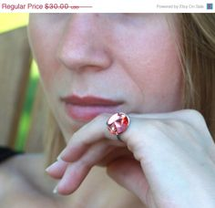 Handcrafted Swarovski Button Ring by TrinketsNWhatnots on Etsy,