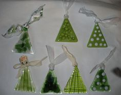 Fused glass Christmas tree ornaments.