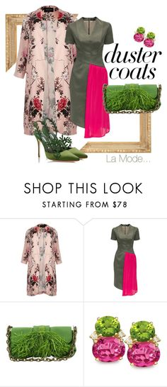 """La Mode...: #dustercoatbotanic"" by lamodelle ❤ liked on Polyvore featuring River Island, Lattori, Lanvin and DusterCoats"