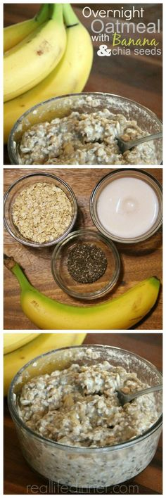No Cook Overnight Oatmeal with Bananas and Chia Seeds...a filling and delicious way to start your day. It turned this oatmeal hating girl into a believer. Go Oatmeal! ~ http://reallifedinner.com