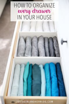 folding clothes Organize every drawer in your house with these simple tips and tricks and beautiful inspiration photos! Dresser Drawer Organization, Home Organization Hacks, Closet Organization, Organizing Clothes Drawers, Clothing Organization, Closet Storage, Diy Storage, Storage Ideas, Konmari