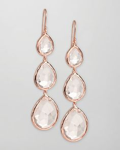 Ippolita Triple-Drop Rose Gold Earrings, Clear Quartz