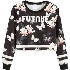 SheIn(sheinside) Contrast Trim Floral Print Crop Sweatshirt (20 NZD) ❤ liked on Polyvore featuring tops, hoodies, sweatshirts, sweaters, shirts, crop top, black, long sleeve tops, crop shirt and floral long sleeve shirt