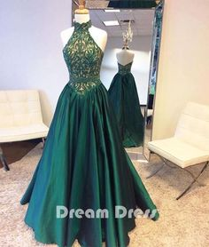 Green high neck long prom dresses, green evening dresses,PD030006