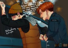 Policeman J-Hope and burglar Yoongi au. yoonseok. Fanart by Envy