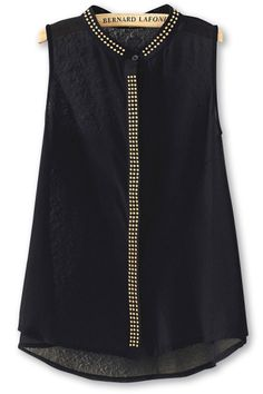Precious Studded-Panel Sleeveless Shirts
