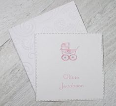 Baby Buggy Banner Personalized Enclosure Cards - Gift Cards - Calling Cards - Set of 24 - Girl - Trend - Flat - One sided - Embossed edge