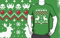 Holiday Invaders Ugly Christmas Sweater T-Shirt    #ugly #christmas #sweater #space invaders #videogames #vintage #t-shirts