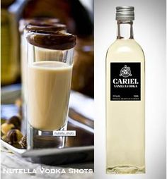 1 cup ice,  ½ cup milk, 2 tablespoons  Nutella, 1 shot Baileys or Frangelico Hazelnut liquor, 1 shot vanilla vodka.   Place all the ingredients into a blender and blend until thick and creamy. Pour into shot glasses  rim the shot glass with Nutella. and enjoy!