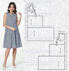 El vestido con la línea aumentada del talle y la falda de прос. Dress Sewing Patterns, Clothing Patterns, Linen Dress Pattern, Sewing Clothes, Diy Clothes, Sewing Coat, Costura Fashion, Fashion Sewing, Diy Dress