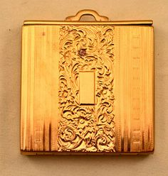 Vintage 1940's Kotler and Kopit Floral Themed Gold Color Compact with Pouch