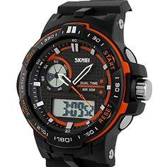 ufengke® sportdualzeit wasserdicht kalender leuchtenden quarz armbanduhren für männer/jungen-orange lünette - http://uhr.haus/ufengke-sports/ufengke-sportdualzeit-wasserdicht-kalender-4