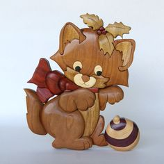 Holiday Kitten Intarsia Wall Hanging Wood Carving by EntwoodCrafts