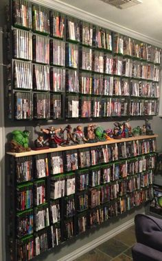 Top to bottom shelving with XBox Games
