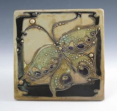 Butterfly tile by CarolLongPottery on Etsy, $72.00