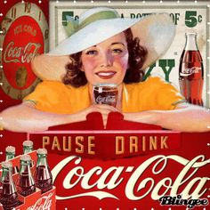 "This ""vintage coca cola"" picture was created using the Blingee free . Coca Cola Poster, Coca Cola Ad, Always Coca Cola, World Of Coca Cola, Coca Cola Bottles, Vintage Advertisements, Vintage Ads, Vintage Posters, Vintage Signs"