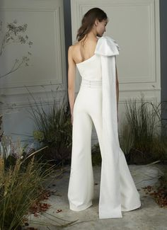 Darlene Heavy Crepe Jumpsuit by Safiyaa Fashion Sewing, Kimono Fashion, Couture Collection, Bridal Collection, Wedding Suits, Wedding Dresses, Safiyaa, Wedding Jumpsuit, One Shoulder Jumpsuit