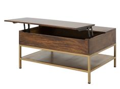 Lomond Lift Top Coffee Table with Storage, Mango wood and Brass