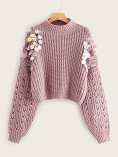 To find out about the Sequin Detail Drop Shoulder Sweater at SHEIN, part of our latestSweaters ready to shop online New Arrivals Dropped Daily. Shein Pull, Pull Long, Pull Court, Fluffy Sweater, Pastel Pattern, Sequin Sweater, Color Block Sweater, Oversized Shirt, Cute Sweaters