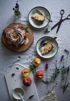 Peach bundt cake with lemon glaze and lavender