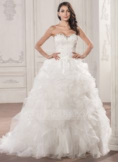 Ball-Gown Sweetheart Court Train Organza Lace Wedding Dress With Beading Sequins Cascading Ruffles (002056946) - JJsHouse