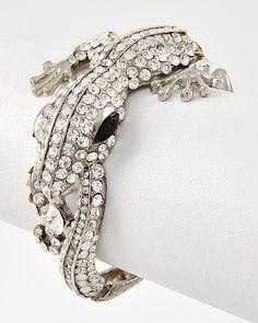 Rhinestone Hinge Lizard Bracelet   www.facebook.com/jeweljunkie