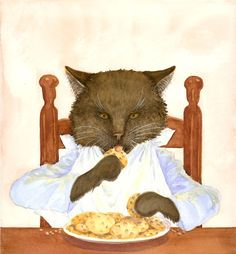 """""""Greed"""" original watercolor from Cookies by Jane Dyer available at the R. Michelson Galleries"""