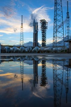 A United Launch Alliance Atlas V rocket with Orbital ATK's Cygnus cargo spacecraft aboard stands at the launch pad at Space Launch Complex 41, Cape Canaveral Air Force Station, Florida on Dec. 3, 2015.