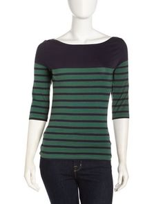 Multi-Stripe Bateau-Neck Tee, Navy by French Connection at Last Call by Neiman Marcus.
