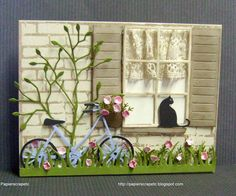 Un chat la fentre by papierscrapetc - Cards and Paper Crafts at Splitcoaststampers New Home Cards, Window Cards, Cat Cards, Animal Cards, Pretty Cards, Paper Cards, Greeting Cards Handmade, Scrapbook Cards, Homemade Cards