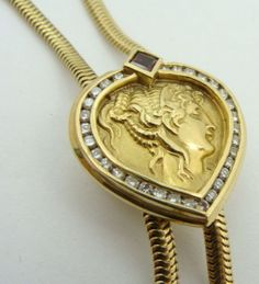Designer Seiden Gang 18K Gold Diamond Slide Necklace